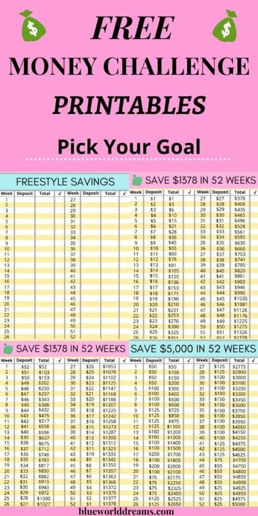 Money saving challenge printables
