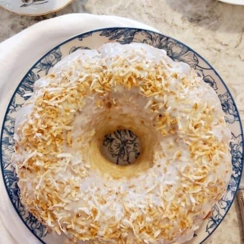 plated coconut cream bundt cake