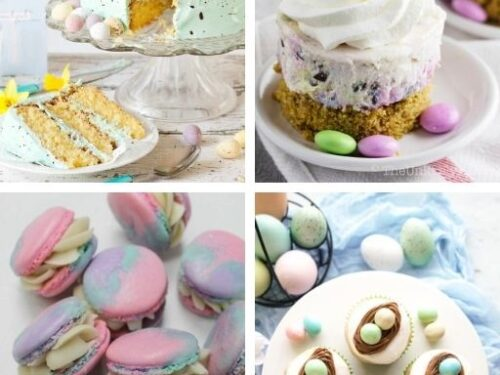 Speckled egg cake, mini Easter cheesecake, Tie dye macarons, Easter egg cupcakes