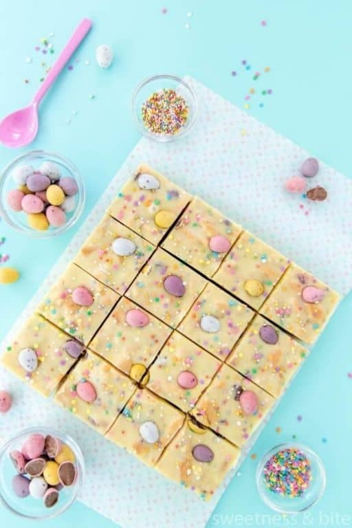 Mini Egg Fudge Slice by Sweetness & Bite