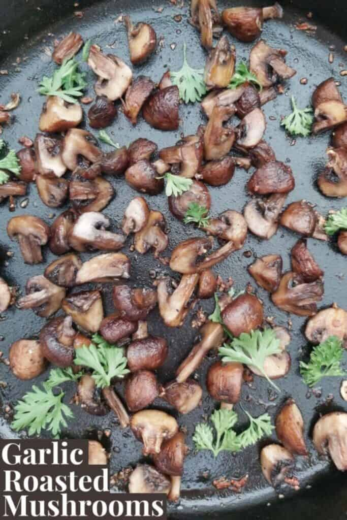 Garlic mushrooms in cast iron skillet