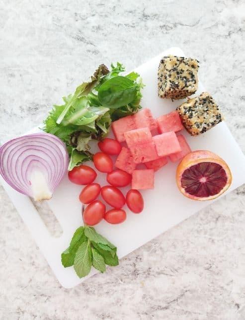 Mykonos salad with sesame crusted feta ingredients