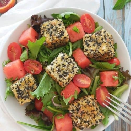 sesame crusted feta salad