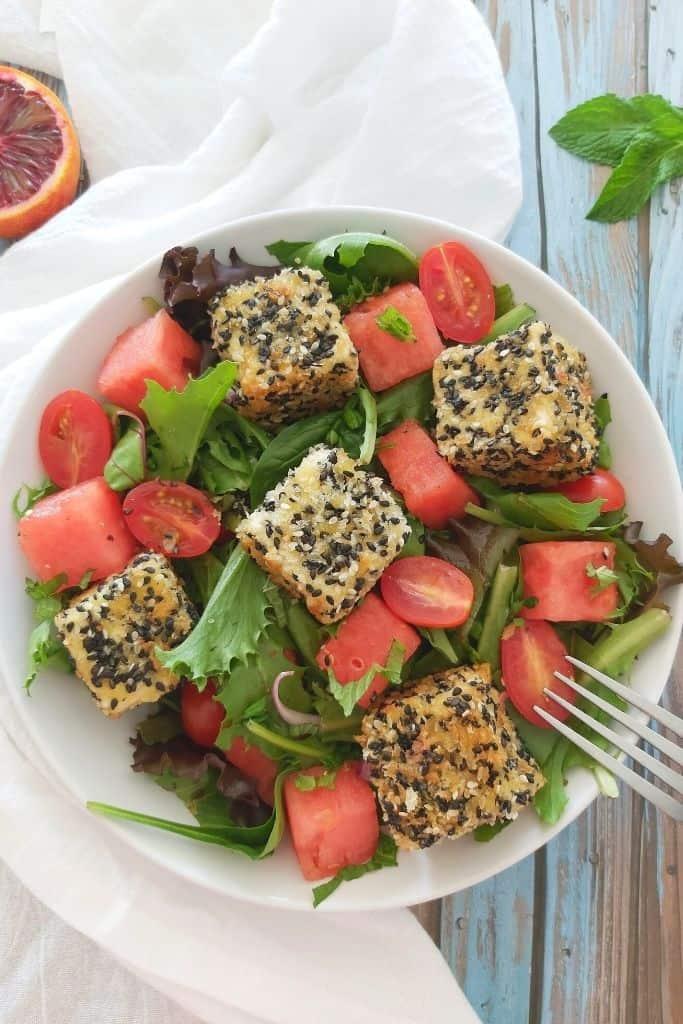 Sesame Crusted Feta: A Delicious Mykonos Salad