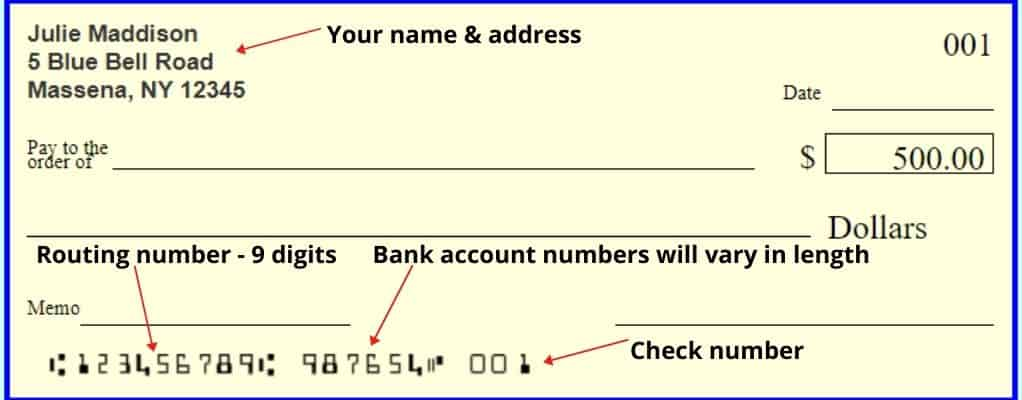 Wells Fargo Check showing the routing numbers
